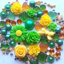 20g GREEN+YELLOW MIX Pearls/Roses/Gem Flatback Kawaii Cabochons Decoden Craft