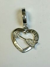 SUPERB 18 Carat White Gold I LOVE YOU DIAMOND SET HEART PENDANT