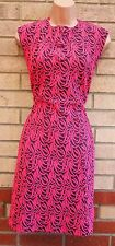 PINK GREY QUILTED ABSTRACT BODYCON PENCIL FORMAL PARTY WINTER TUBE DRESS 12 M