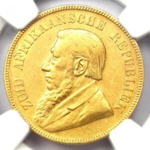 1895 South Africa Zar Pond Gold Coin 1P - NGC AU53 - Rare Certified Coin!
