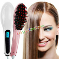 Hair Straightener LCD Brush Electric Straightening Comb Iron Ceramic Heat US/EU/