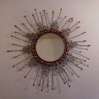 N2207 Miroir soleil fer forgé verre fait main ethnique art déco PN France