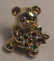 Vintage Rhinestone Christmas Teddy Bear Wreath Brooch Pin Jewelry