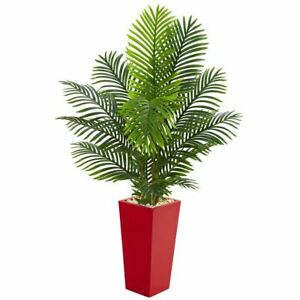 Luxury Multicolor 5' Paradise Palm Artificial Tree in Red Planter - 5 Ft.