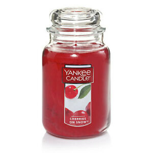 ☆☆CHERRIES ON SNOW☆LARGE YANKEE CANDLE JAR 22 OZ☆CHERRY SCENT FREE SHIPPING