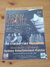 LENNY KRAVITZ - THE CRANBERRIES - 2012 SYDNEY AUSTRALIA - Laminated Tour Poster