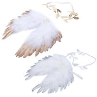 Newborn Baby Kids Feather Lace Flower Leaves Headband & Angel Wings Photo Props