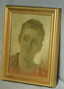 Frans Schwartz Original OIl Painting Portrait Italian Fisher Boy 1915 Arts Craft