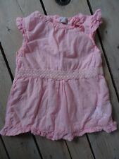 T-shirt sans manches rose ceinture dentelle bas volant KMG Taille 5 ans / 110 cm