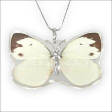 Clear Acrylic White Butterfly Pendant 20' + 2' adjustable Silver Tone Necklace