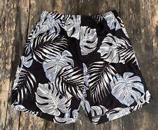 Men's Rich Black Color Swim Trunk Shorts - Tropical Floral Design Medium (32-34)