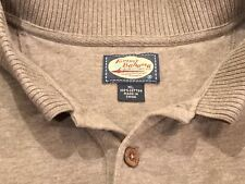 Tommy Bahama Mens XL 3 Button Neck Long Sleeve Sweater Beige Tan 100% Cotton