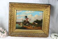 German school 1900s Oil panel painting chickens rooster poultry scene