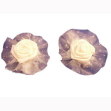 2 Satin Organza white rose hair clip barrettes bows