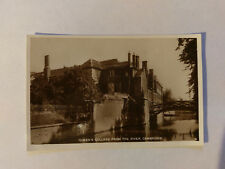 Cambridge Vintage B&W Postcard c1930s Queen's College from the River