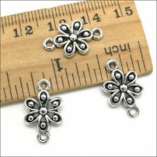 20pcs Flower Antique Silver Charms Pendant Connector DIY Jewelry Findings