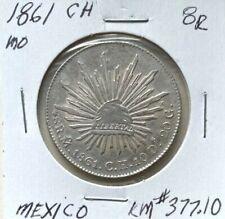 MEXICO 1861 CH Mo 8 REALES KM#377.10 XF/AU