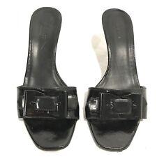 GUCCI Black Leather Sandals Heel Pumps 6.5 Buckle Mule