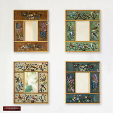 Peruvian Small Mirror set 4, Painting on Glass Accent Mirror set for wall decor