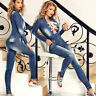 ESC Damen Overall Einteiler Catsuit Jumpsuit Jeansoverall Jeans 34 - 36 #E137