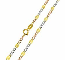 """14K Real 3 Tri Color Yellow White Rose Gold 3.2mm Stamped Figaro Chain 18"""" Inch"""