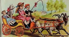 Domestic Sewing Machine Co Boy Girl Goats Pulling Wagon Pet Dog & Doll P39