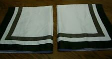 "Pair Brown/Ivory Cotton Sateen Finish Queen Pillow Shams/32"" x 26"""