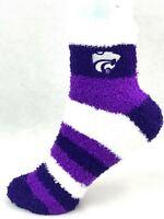For Bare Feet Kansas State Wildcats Rainbow Stripe Fuzzy Socks