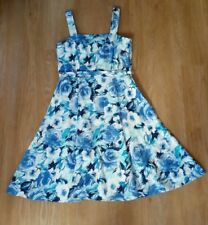 LADIES UK SIZE 16 / EURO 44,100% COTTON  BLUE & WHITE SUMMER DRESS by M AND CO.