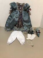 """Vintage Victorian Style Doll Dress & Accessories for 16"""" Dolls Satiny Blue"""