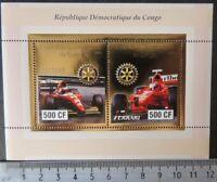 2003 sport racing cars formula 1 ferrari rotary gold foil  m/sheet MNH #1