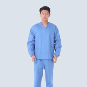 Unisex Women Men Long Sleeve Uniforms Medical Hospital Nursing Scrub Top Pants