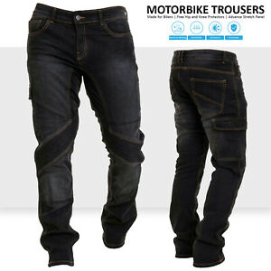 Mens Motorcycle Jeans Motorbike Pants Denim Trousers Aramid Protective Lining