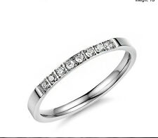 2MM women ladies white gold plated titanium wedding engagement ring band size M