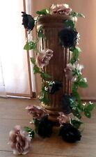 Rosengirlande schwarz/grau ca 250 cm  Blüte ca. 12 cm Kunstblumen