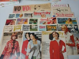 Vogue sewing news, Mccalls carefree sew in, Simplicity lot of 31 early 70's