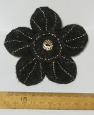 Handmade Black & Gold Felt Flower Brooch Present Hippy Boho Teacher Gift Prom