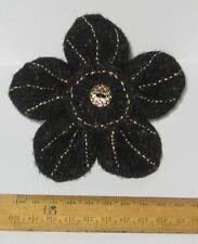 Handmade Black & Gold Felt Flower Brooch Present Hippy Boho Gift Prom OOAK