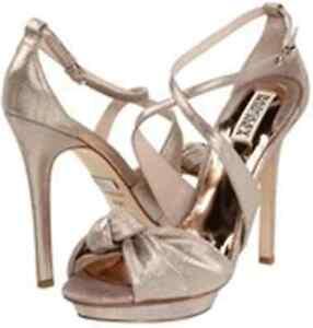 NIB Badgley Mischka Wallis leather metallic straps heels sandals shoes ROSE 8