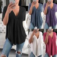 Women Summer V Neck Shirt Loose Blouse Ladies Shirt Baggy Tops T-shirt Plus Size