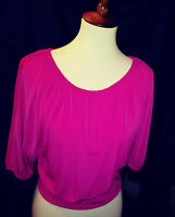 Express womens NWT hot pink stretch knit top gathered at waist 3/4 sleeve