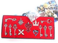Kingdom Hearts II Necklace 13pcs/set Pendant Keyblade Keychain New In Box Silver