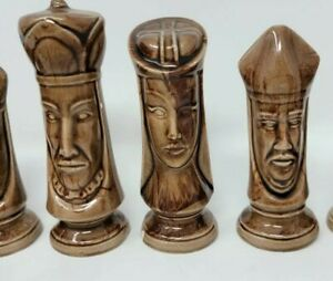 Vintage Ceramic Duncan Mold Chess Pieces Hand Dipped Complete Set No Board