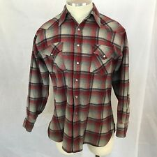 Vtg Pendleton Wool Western Shirt Pearl Snap Long Sleeve Red/Blue/Gray Plaid L