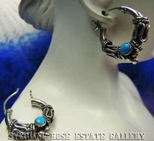 "Blue TURQUOISE 1"" x 3/4"" HOOP HUGGIE Sterling Silver 0.925 Estate Wire EARRINGS"