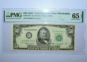 1950-C $50 FEDERAL RESERVE NOTE ✪ PMG 65-EPQ ✪ 2110-C PHILADELPHIA 731 ◢TRUSTED◣