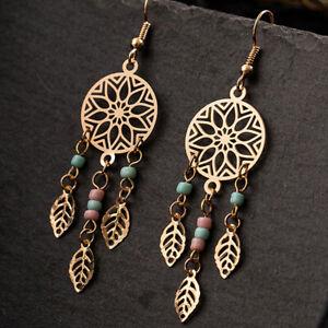Women Earrings Beads Multi Color Seed Dreamcatcher Dangle Ear Hooks Jewelry HC