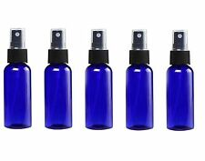 Glass Spray Bottles - 5 Piece 1oz Cobalt Blue Small Glass Bottles Black Sprayer