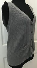 New York & Company Gray Sleeveless Button Down Sweater Vest SZ XL Ribbed Stretch