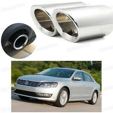 2Pcs Car Exhaust Muffler Tip Tail Pipe Trim Silver for VW Passat 2012-2015 #2038